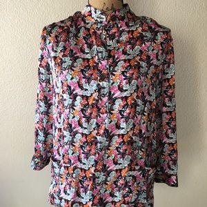 Tucker silk floral tunic top